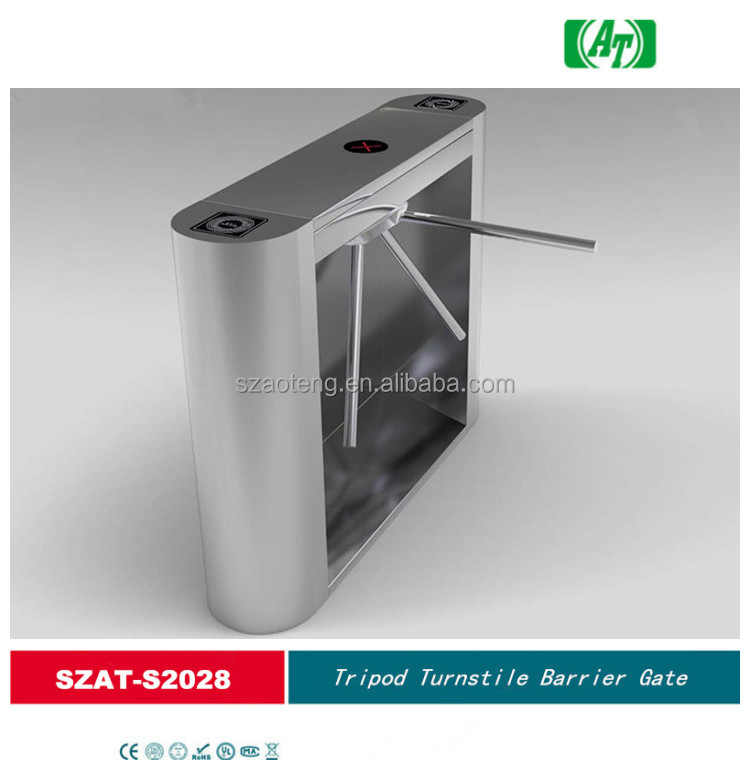 Security pedestrian Tripod turnstile barrier gate of 304 stainless steel with entrance security control system SZAT-S2028