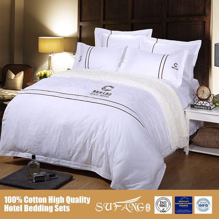 Jiangsu Nantong High Quality Hotel Bed Linen Sets Emb