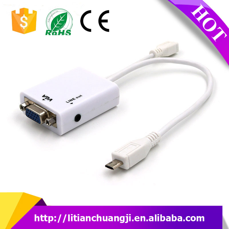 White Micro USB To VGA MHL Adapter + Audio Output Cable For Samsung/Galaxy/S3/i9300
