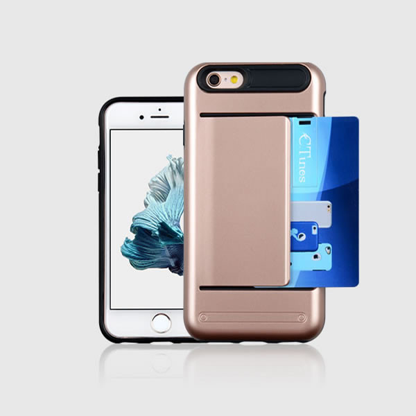 C&T Heavy Duty Card Pocket Dual Layer Hybrid Rubber Bumper Protective Card Case Cover for Apple iPhone 6