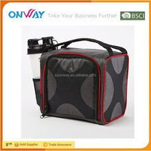 Fit and Fresh Lunch Box Bag with Portion Control Containers, Reusable Ice Pack, Red and Black