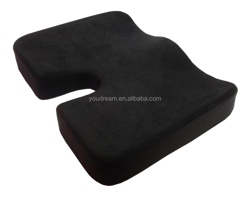 Coccyx Seat Cushion, Cool Gel Memory Foam Large Orthopedic Tailbone Pillow for Sciatica, Back and talibone pain - Washable Cover