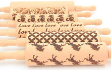 Hot Sale! Wooden Embossing Rolling Pin with Laser Engraved