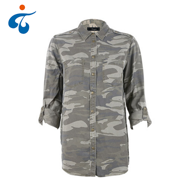 Lycell tencel printed latest designs long sleeve hunting camouflage shirt women