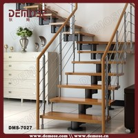 modern house interior steel narrow stairs with wood tread