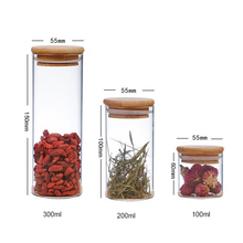OEM Suppliers 100ml 200ml 250ml 300ml High Borosilicate kitchen <strong>Glass</strong> storage <strong>jars</strong> with Bamboo Lid