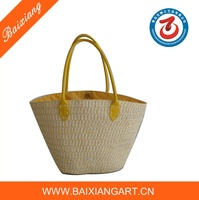 Hand Knitted PP Plastic Straw Beach Tote Bags