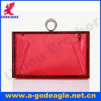 New arrival fashion U0001-020 acrylic magazine clutch purse