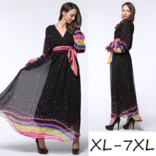 Long Sleeve Casual Floral Sundress Western Wear Clothing Ladies Plus Size Maxi Long Bohemian Dress