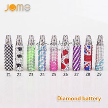 Best seller jomotech 650mah crystal diamond ego battery for e cigarette