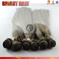 2015 new style 7pcs yaki synthetic hair ombre hair weaves gray hair weave