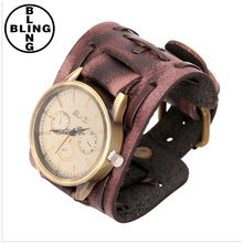 >>>Wholesale 2017 latest charm red wide genuine leather cuff cool men leather watch