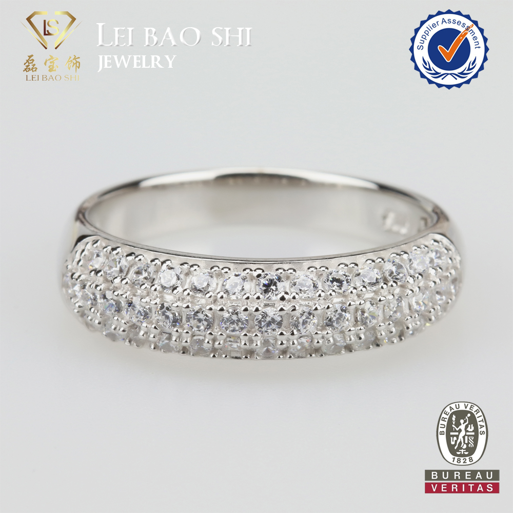 Rhodium Plated Color Cubic Zirconia Diamond Ring 925 Sterling Silver CZ Stone Ring