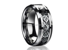 Fashion Jewelry Engagement Black IP Dragon Tungsten steel Ring for Men & women lord Wedding rings Band new punk ring