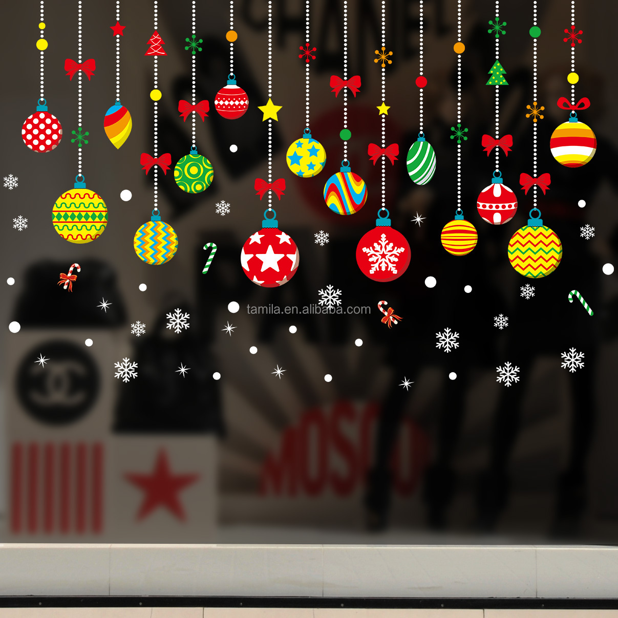 Christmas Tree Gift Wall Stickers Living Room Bedroom Store Window Wall Decals Christmas New Year Sticker