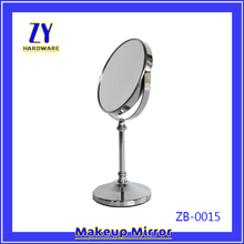 Silver metal framed two way dressing desk round mirror
