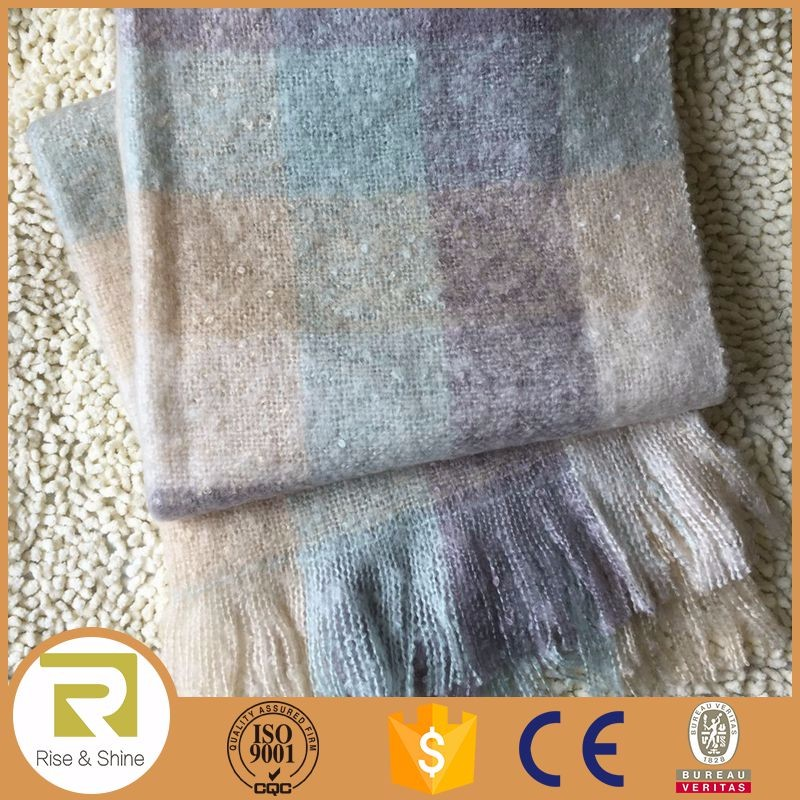 Wholesale 100% Acrylic heavy brushed winter wraps and shawls
