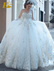 Luxury Beaded Lace Appliqued Ball Gown Ivory Wedding Gown 2017
