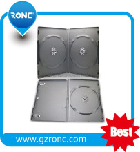 14mm Black Quad 4 Disc DVD Cases with Double Sided Flip Tray