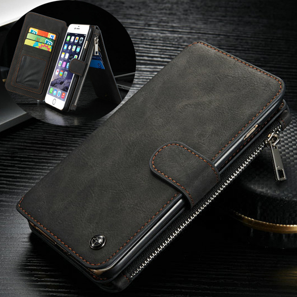 CASEME 14 Slots Wallet Detachable 2-in-1 Genuine Split Leather Phone Case for iPhone 6s 6