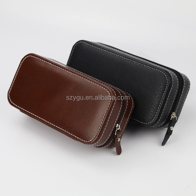 Factory Cheap PU Leather Watch Box 2 Slot Whach Case for Gift