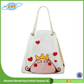 Custom Rope Handle White Canvas Tote Bag With Cartoon Printing