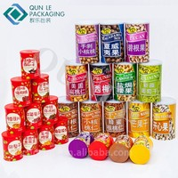 Custom Empty Dried Food Airtight Retail Round Packaging Box with Easy Open Top