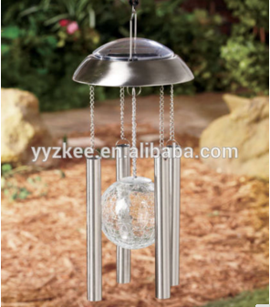 Hot sell! solar Powered Light Wind bell Chimes Stainless Steel Glass ball Yard Garden Decor