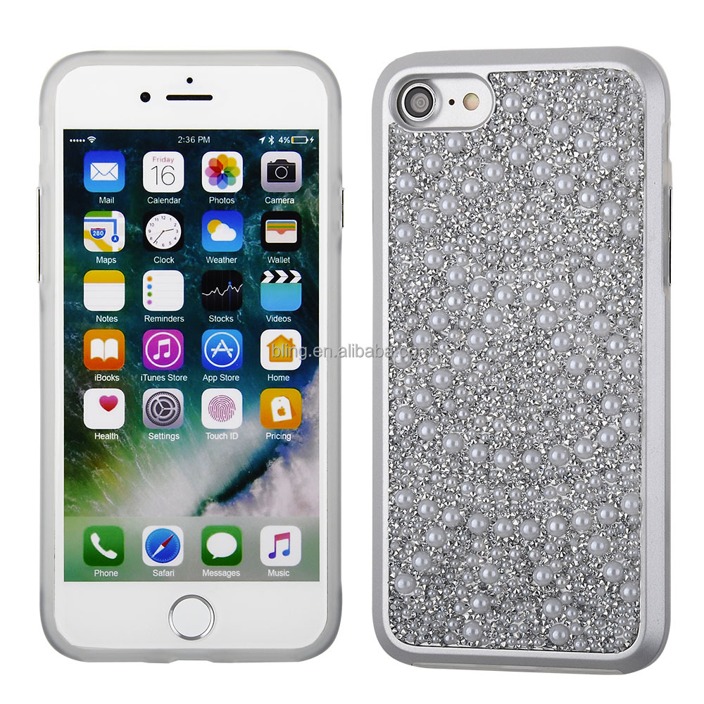 Handmade pearl Glitter Diamond cellphone case soft PC hard case TPU bumper for iphone 7