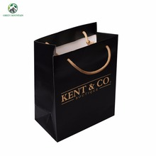 High quality small size black white background gold foil printed boutique paper bag with matt lamination