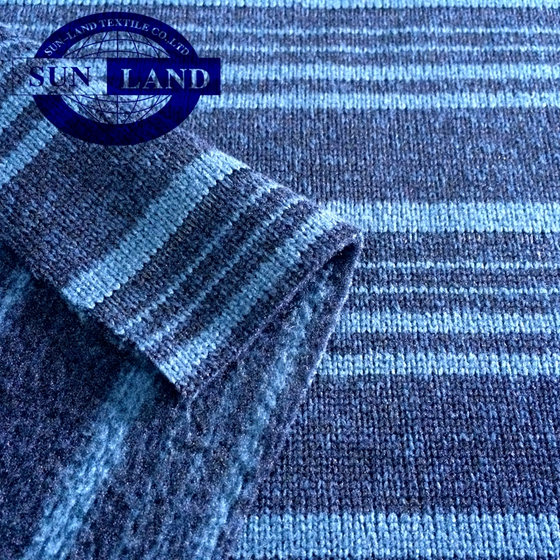 100% polyester Stripe melange fleece yarn-dyed flannel fabric for winter coat