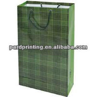 Grid printed paper shopping bag