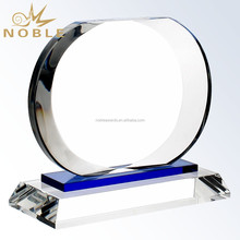Corporate Oval Blank Plaque Crystal Trophy with Crystal Base