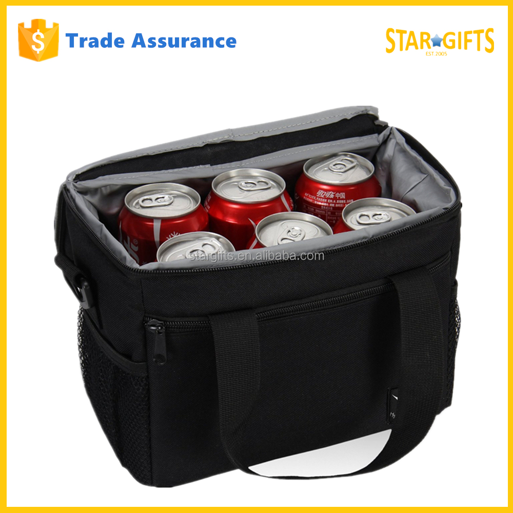 China Manufacturer Custom Black Insulated Lunch Box 6 Can Cooler Bag For Picnic