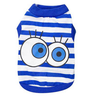 New Arrival Big Eyes Stripe Wholesale Summer Puppy Vest Clothes Dog T Shirts