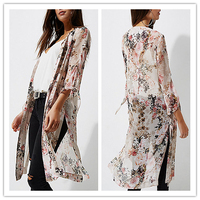 Light Pink Long Floral Chiffon Kimono Jacket With Tie Sleeve