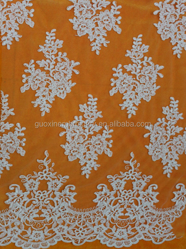 2015 Fashion Emboridery mesh lace for wedding dress