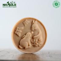 R1711 Rabbit Round Shape Handmade Silicone Natural Soap Mold