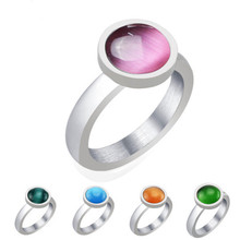Yiwu Aceon New model wedding Band stainless steel Colorful Opal Ring