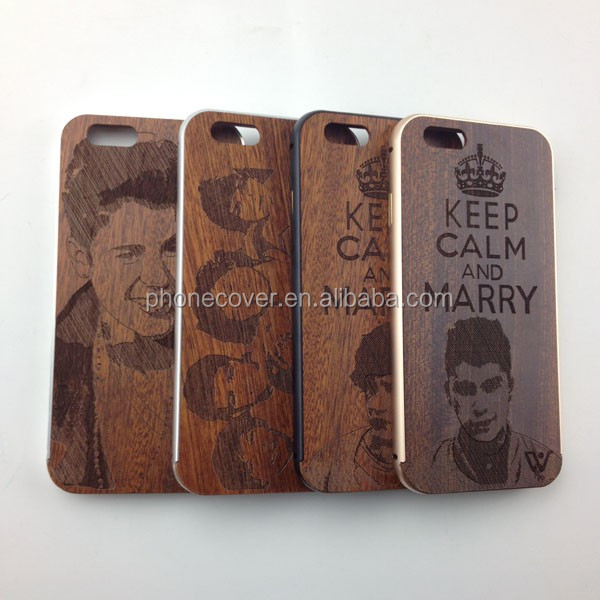 Friendly Personalized Wooden Cell Phone Case For iPhone 6, Wooden Case For iPhone 6, Metal Bumper Mobile Accessories