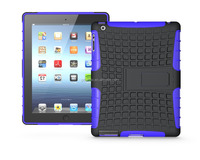 Hot sale high quality hybrid combo 2 in1 PC+TPU stand case for iPad 4, Cover for iPad 4