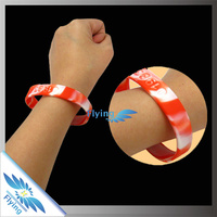 red & white segmented embossed silicon bracelets