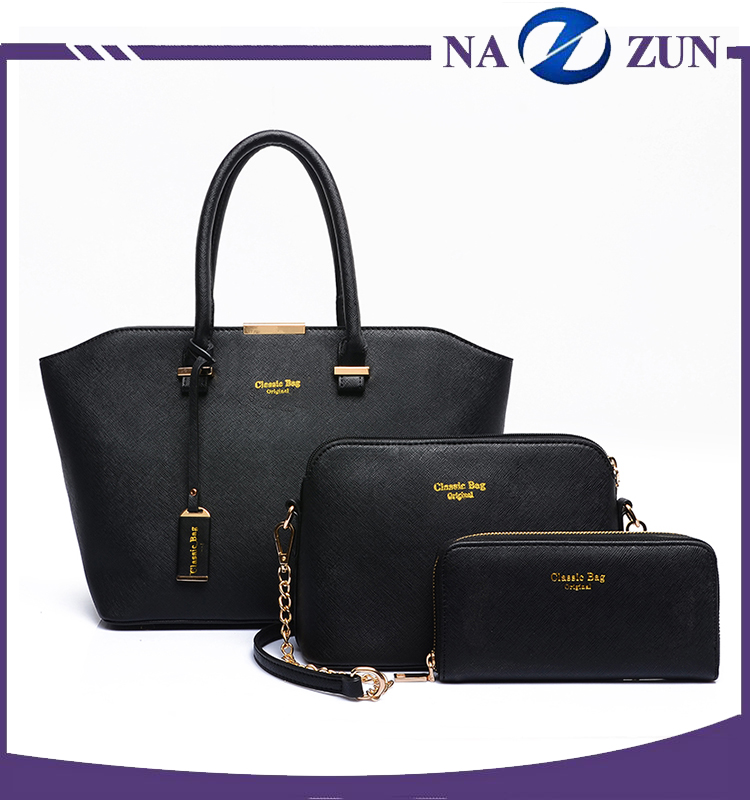 China Supplier Cross Pattern Leather Designer Handbags Ladies, Hang Tag Clutch Bag Handbags For Women 3pcs In 1