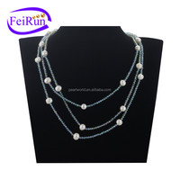 FEIRUN 3rows pearl with green beads women pearl necklace, fashion pearl necklace, natural pearl necklace