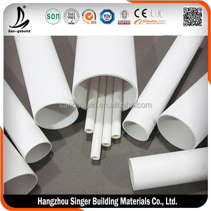 "6"" diameter plastic pipe, large diameter thin wall pvc pipe 6 inch"