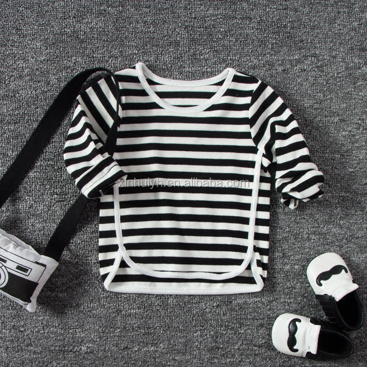 Top Quality Baby Clothes 0-24 Month Soft Cotton Stripe Long Sleeve T Shirt China Customized