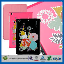 C&T Popular new peony leather stand for ipad mini smart case pu