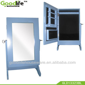 Small standing jewelry armoire with mirrors for bedroom