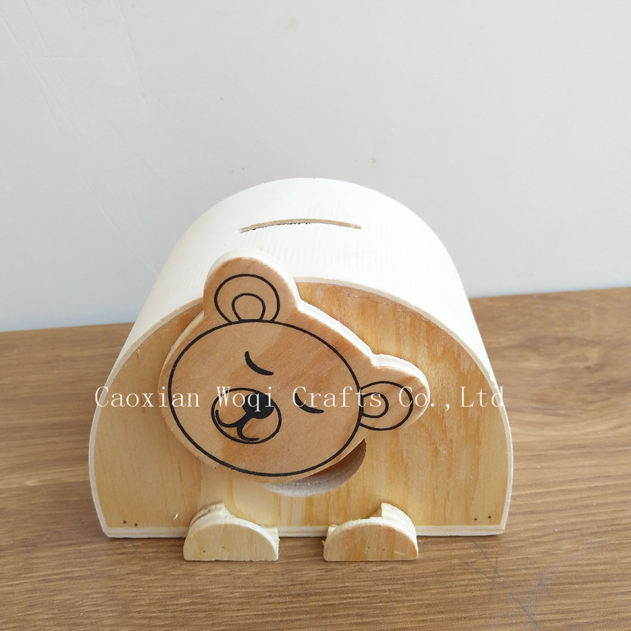 House shape custom small wooden money saving bank boxes wholesale money storage box