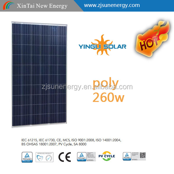 Poly 260W Yingli Solar panel High Efficiency best price pv module with full certification